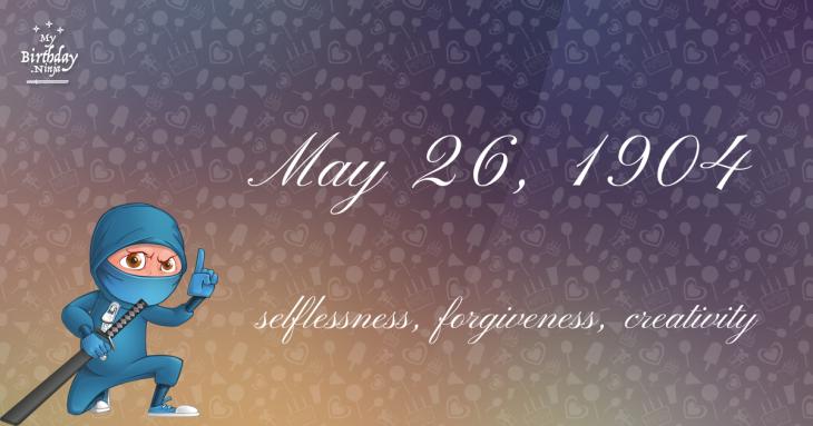 May 26, 1904 Birthday Ninja