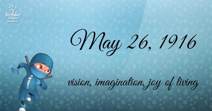 May 26, 1916 Birthday Ninja