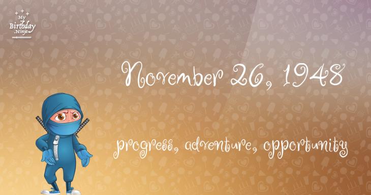November 26, 1948 Birthday Ninja