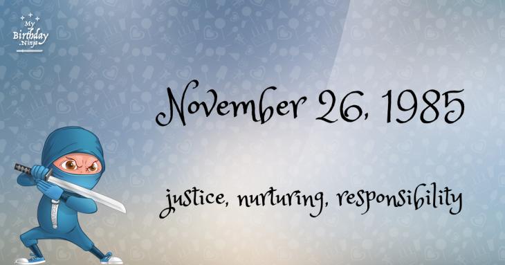 November 26, 1985 Birthday Ninja