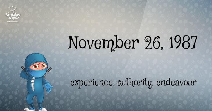 November 26, 1987 Birthday Ninja