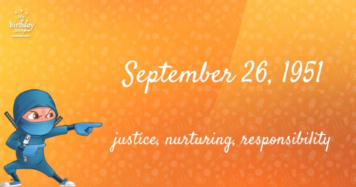 September 26, 1951 Birthday Ninja