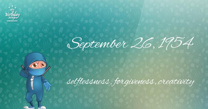 September 26, 1954 Birthday Ninja