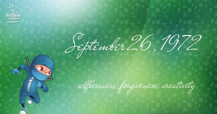 September 26, 1972 Birthday Ninja