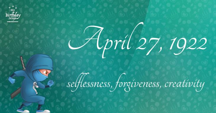 April 27, 1922 Birthday Ninja