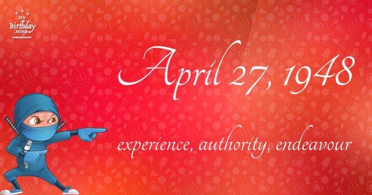 April 27, 1948 Birthday Ninja