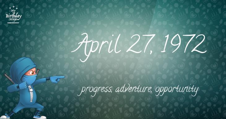 April 27, 1972 Birthday Ninja