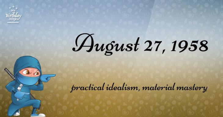 August 27, 1958 Birthday Ninja
