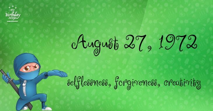 August 27, 1972 Birthday Ninja