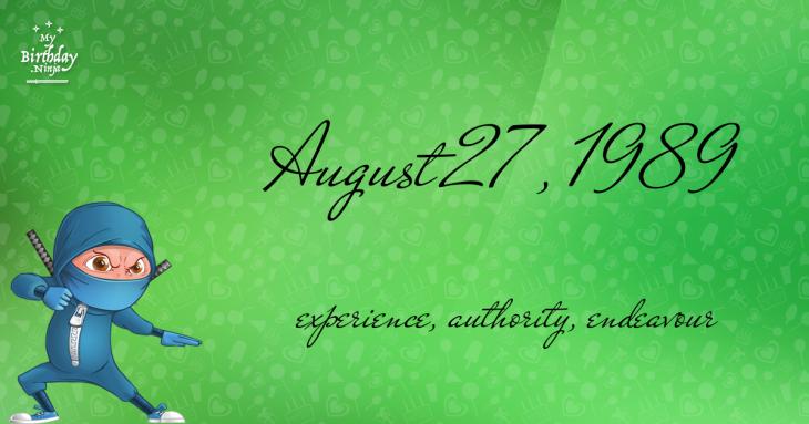 August 27, 1989 Birthday Ninja