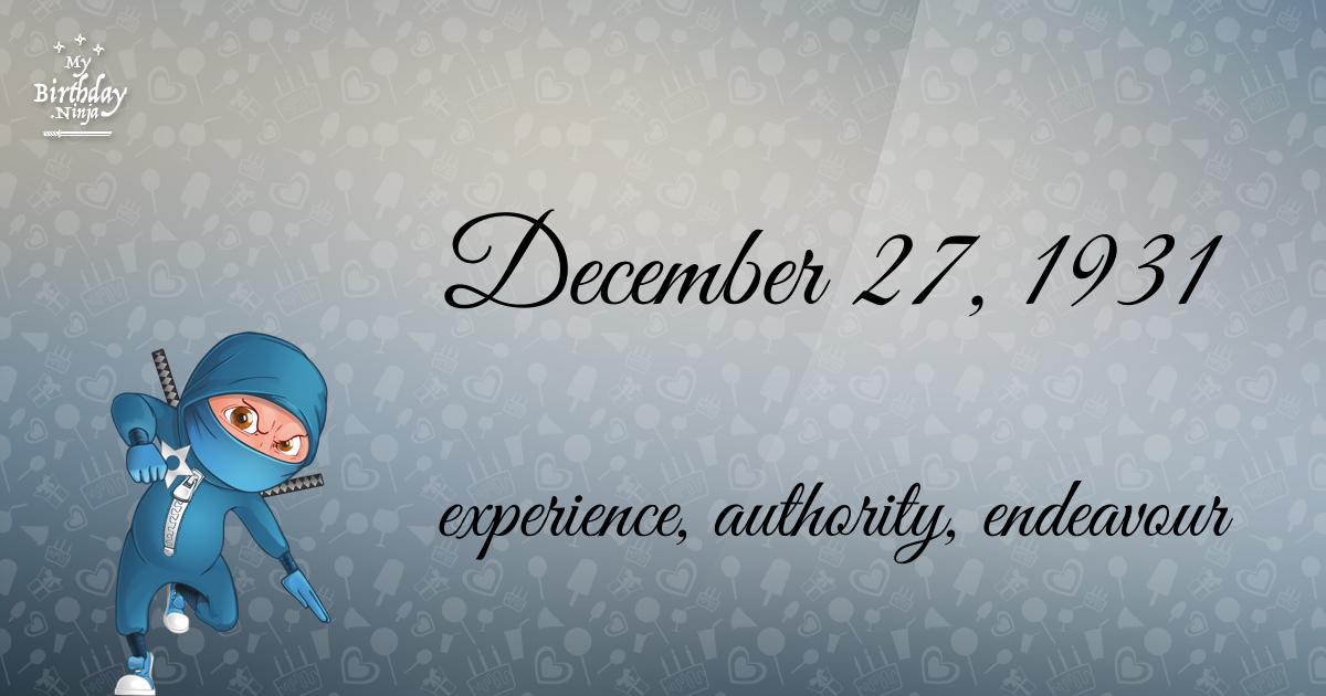 December 27, 1931 Birthday Ninja Poster