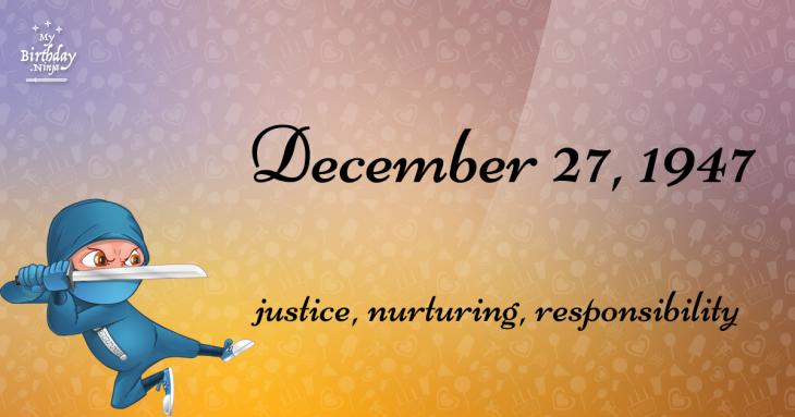 December 27, 1947 Birthday Ninja