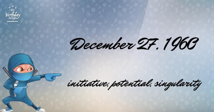 December 27, 1960 Birthday Ninja