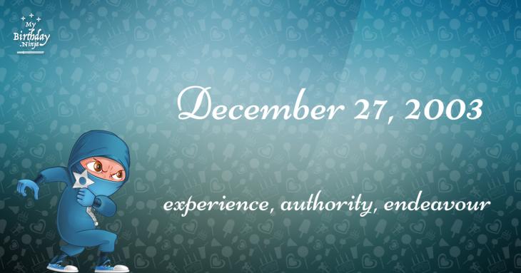 December 27, 2003 Birthday Ninja