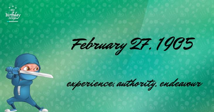 February 27, 1905 Birthday Ninja