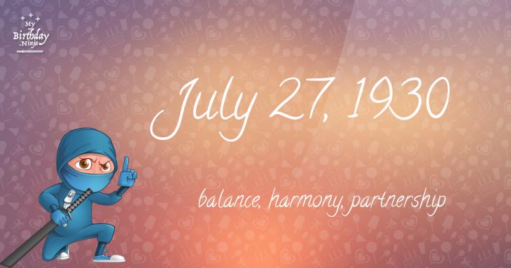 July 27, 1930 Birthday Ninja