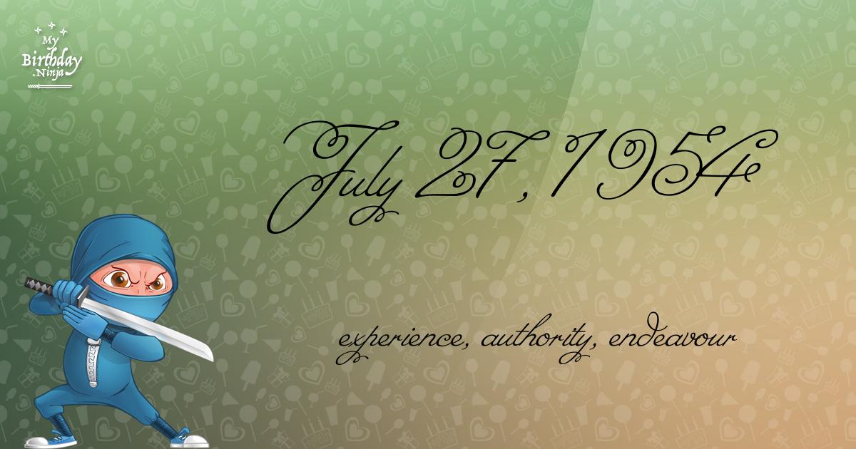 July 27, 1954 Birthday Ninja Poster
