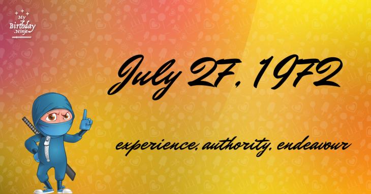 July 27, 1972 Birthday Ninja