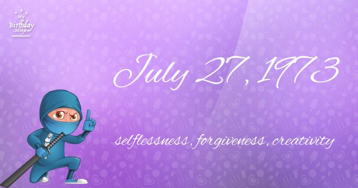 July 27, 1973 Birthday Ninja