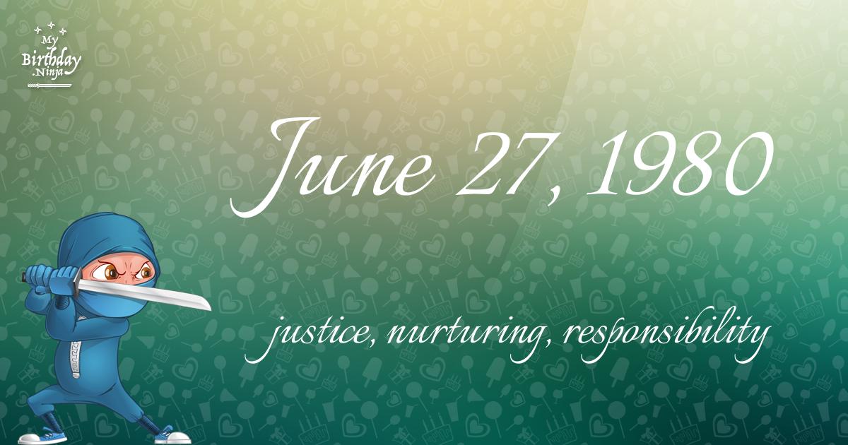 June 27, 1980 Birthday Ninja Poster