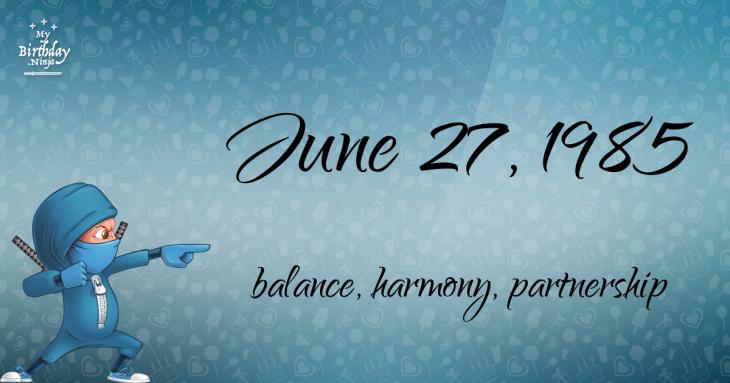 June 27, 1985 Birthday Ninja