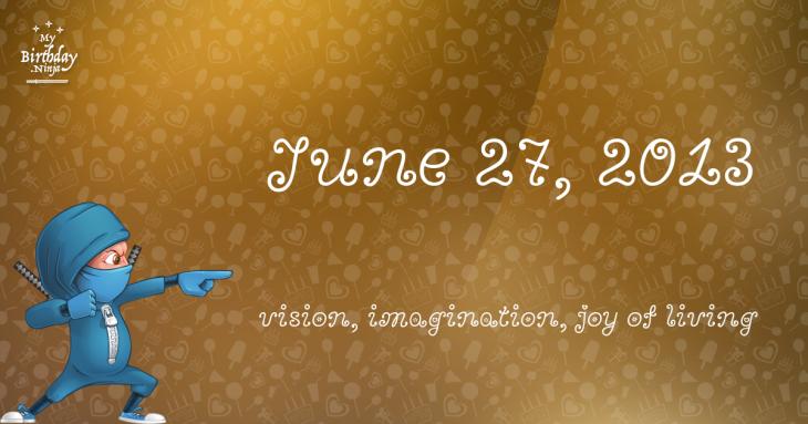 June 27, 2013 Birthday Ninja
