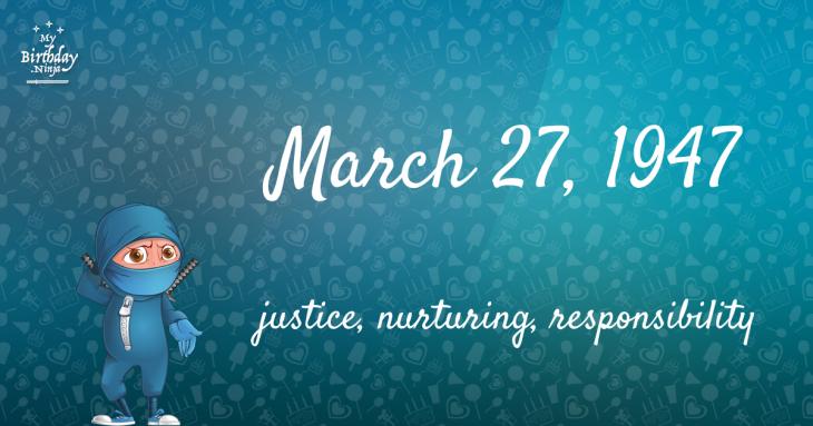 March 27, 1947 Birthday Ninja