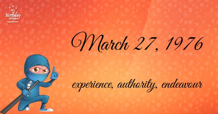 March 27, 1976 Birthday Ninja