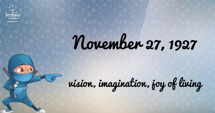 November 27, 1927 Birthday Ninja