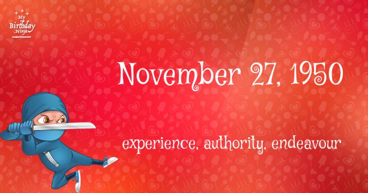 November 27, 1950 Birthday Ninja