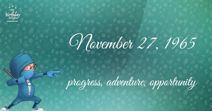 November 27, 1965 Birthday Ninja