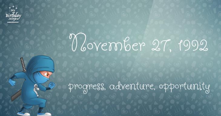 November 27, 1992 Birthday Ninja