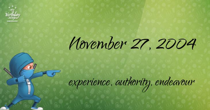 November 27, 2004 Birthday Ninja
