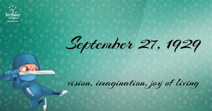 September 27, 1929 Birthday Ninja