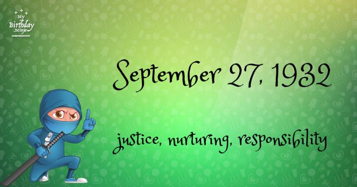 September 27, 1932 Birthday Ninja