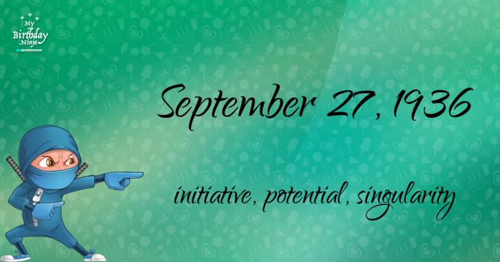 September 27, 1936 Birthday Ninja