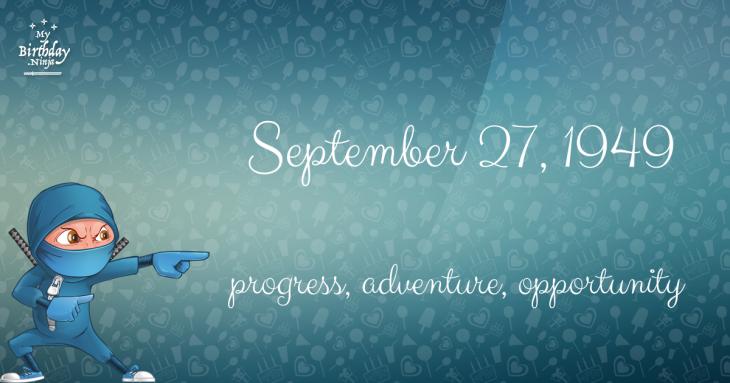 September 27, 1949 Birthday Ninja