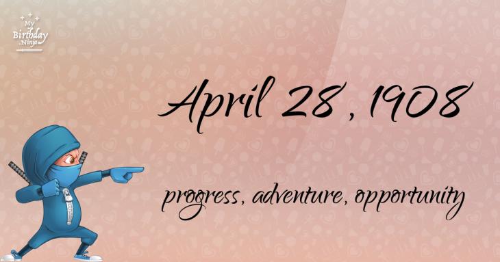 April 28, 1908 Birthday Ninja