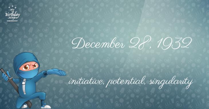 December 28, 1932 Birthday Ninja