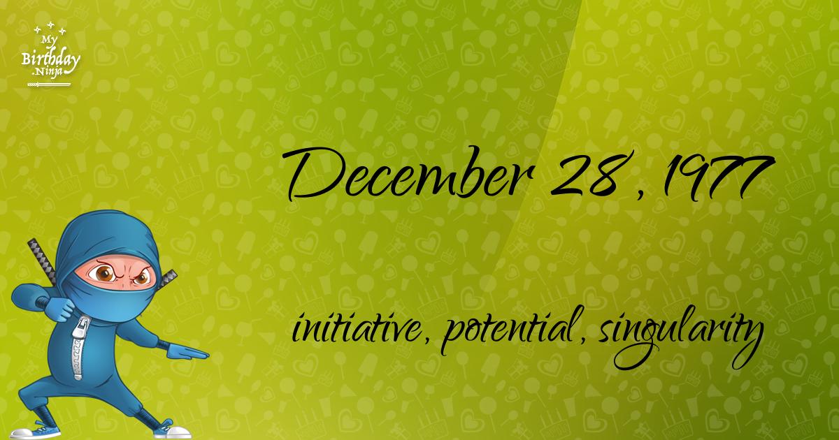 December 28, 1977 Birthday Ninja Poster