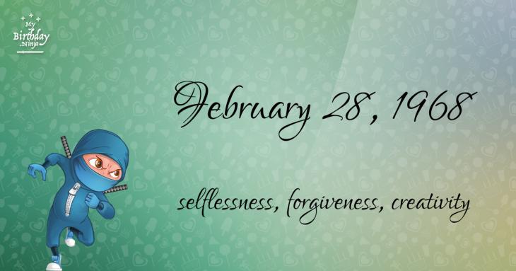 February 28, 1968 Birthday Ninja