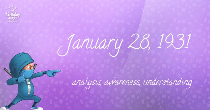 January 28, 1931 Birthday Ninja