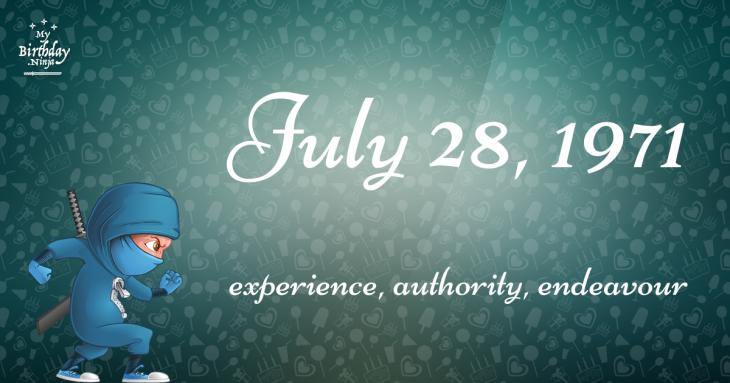 July 28, 1971 Birthday Ninja