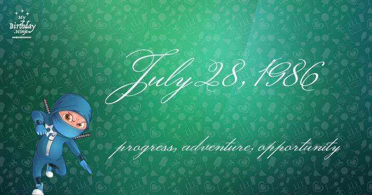 July 28, 1986 Birthday Ninja