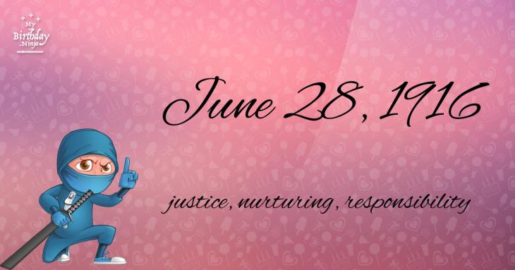 June 28, 1916 Birthday Ninja