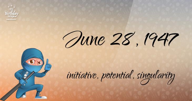 June 28, 1947 Birthday Ninja