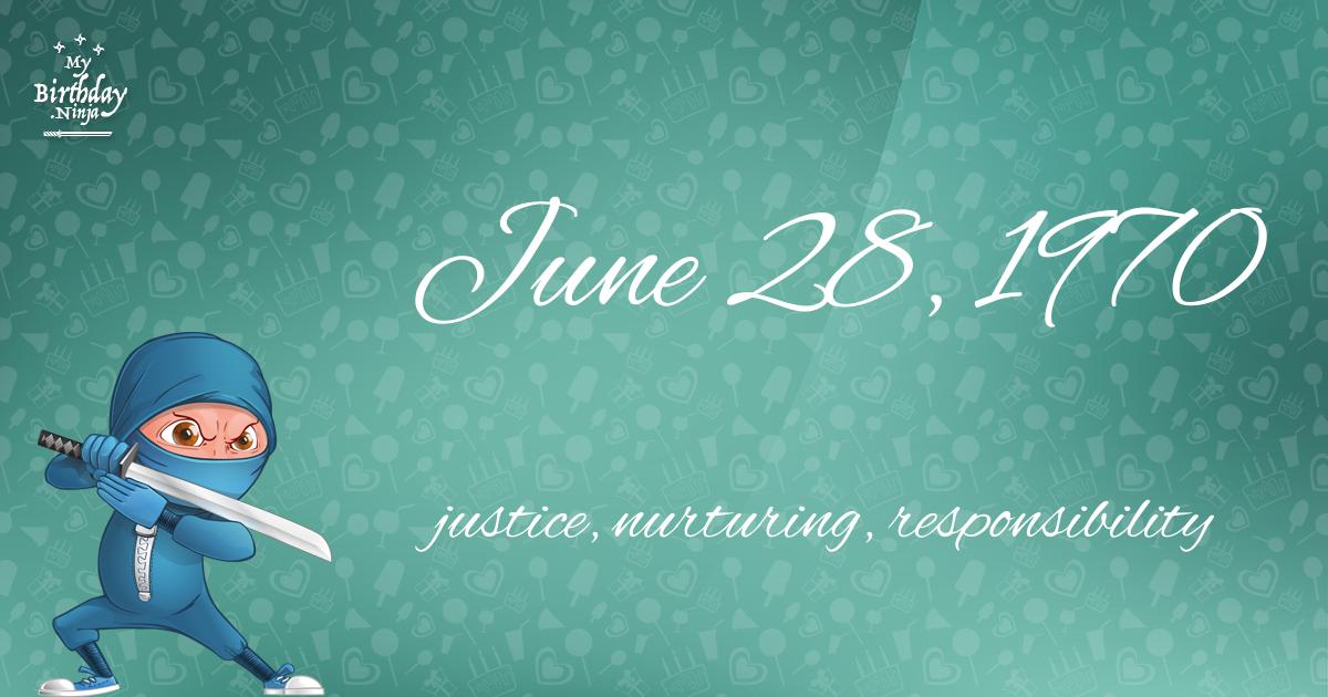 June 28, 1970 Birthday Ninja Poster