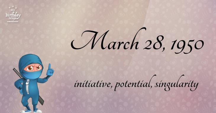 March 28, 1950 Birthday Ninja