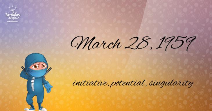 March 28, 1959 Birthday Ninja