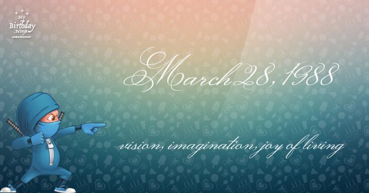 March 28, 1988 Birthday Ninja
